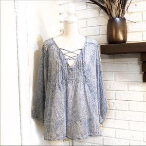 Sonoma Blue & White Peasant Top, Size XL